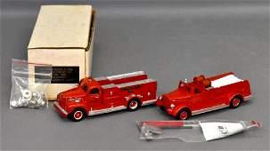 Two Dehanes Models die cast fire trucks in original