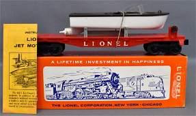 Lionel postwar O gauge 6501 jet motor bot flat car in