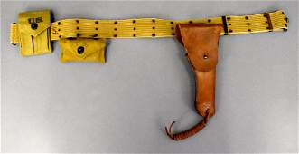 US WWII military Army 1942 web pistol belt holster