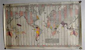 US pre WWII Navy World time zone map March 8th 1934