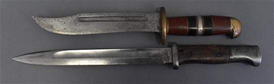 WWII German k98 bayonet and US theater made fighting