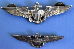 US WWII two Navy USN pilots wings Amico