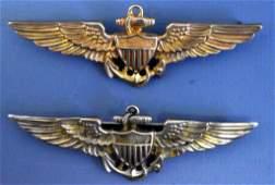 US WWII two Navy USN pilots wings Vanguard