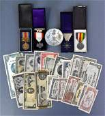 Japanese Chinese WWII 4 military medals paper money &