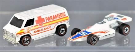 Redline Hot Wheels white enamel Paramedic and Formula