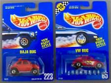 Hot Wheels blue card 65 VW bug and 223 Baja bug MOC