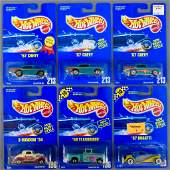 Six Hot Wheels blue card cars MOC 28 136 196 213