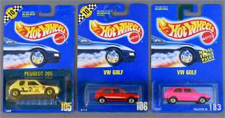 Three Hot Wheels blue card compact foreign cars MOC 105