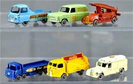 Group of six Vintage Matchbox die cast trucks