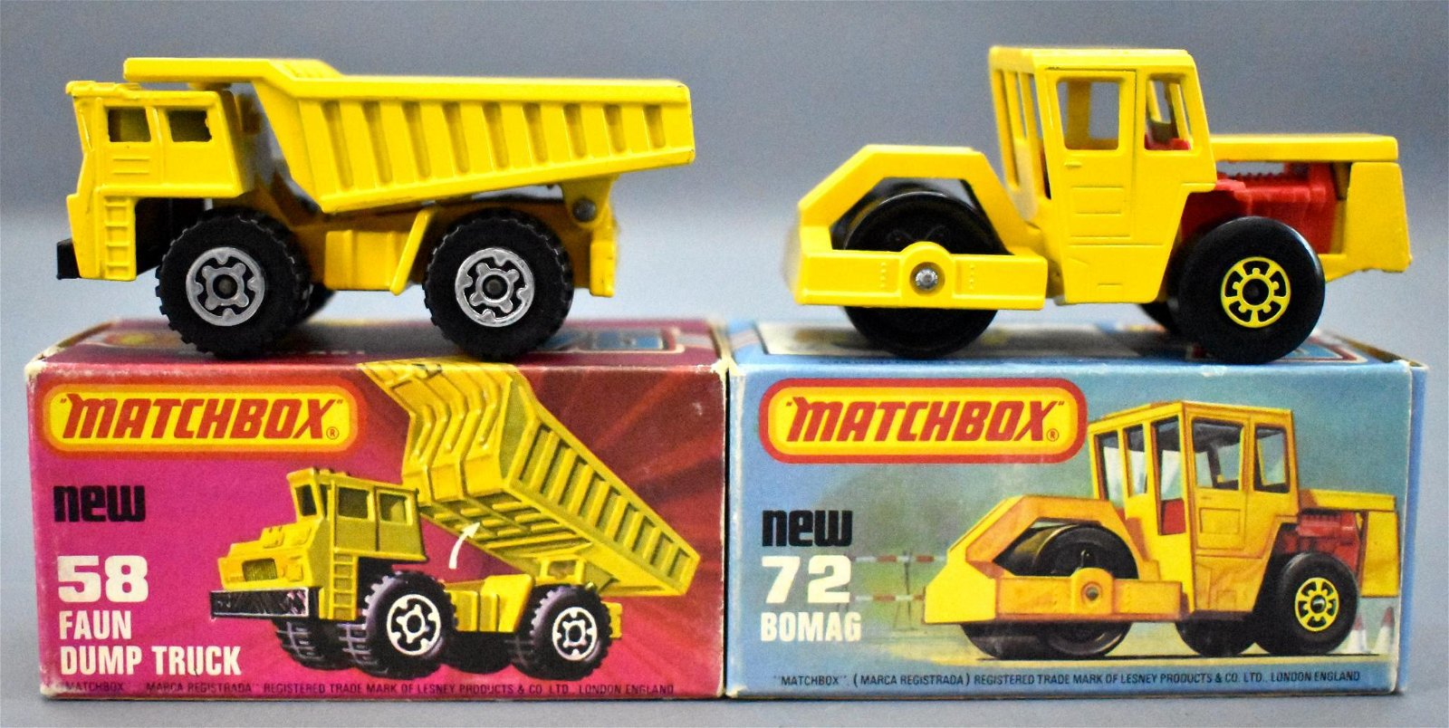 Two vintage Matchbox Superfast die cast toys in