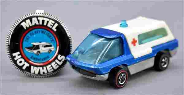 Redline Hot Wheels blue HK Heavyweights Ambulance with