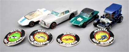 Four Redline Hot Wheels with original buttons