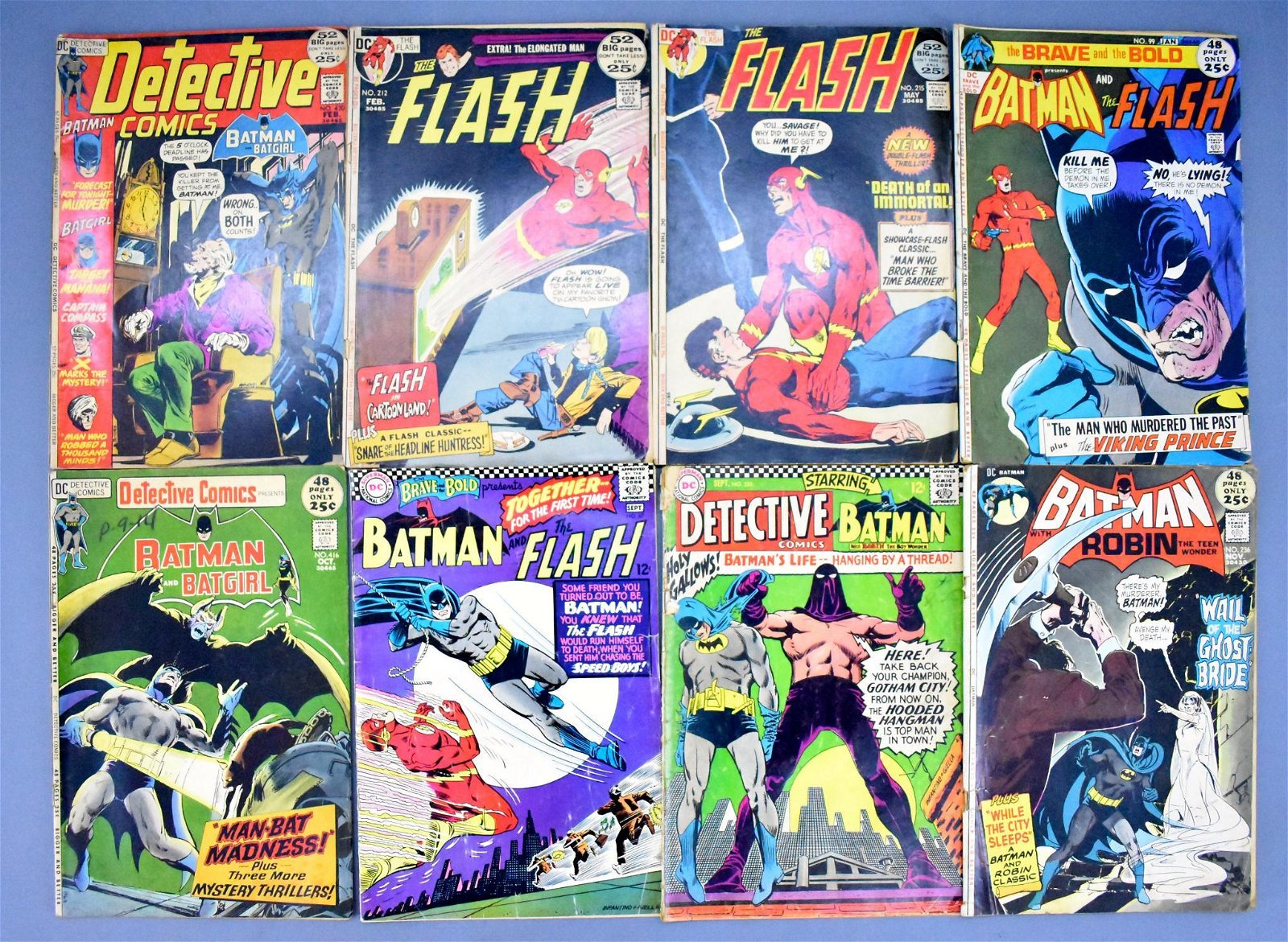 Group of eight DC Batman Detective and Flash bronze age