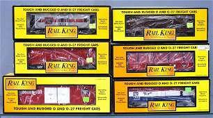 Six MTH Rail King O gauge Burlington freight cars in