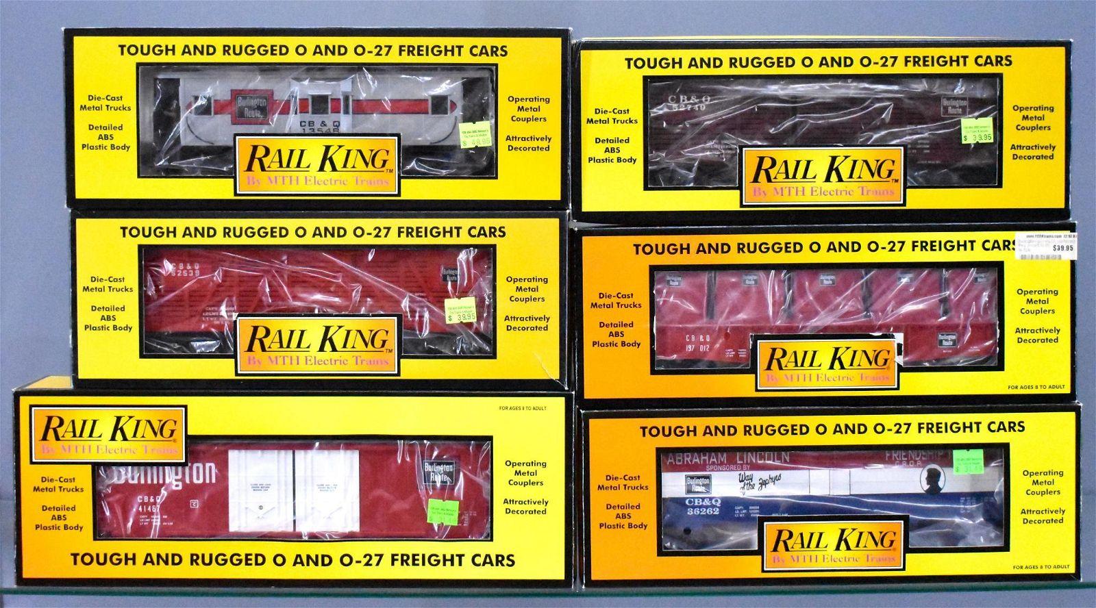 Six MTH Rail King O gauge Burlington freight cars in