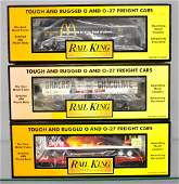 Three MTH Rail King O gauge freight cars in original