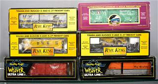 Six MTH Premier Rail King and Weaver O gauge freight