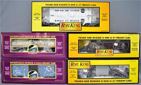 Five MTH Premier and Rail King O gauge freight cars in