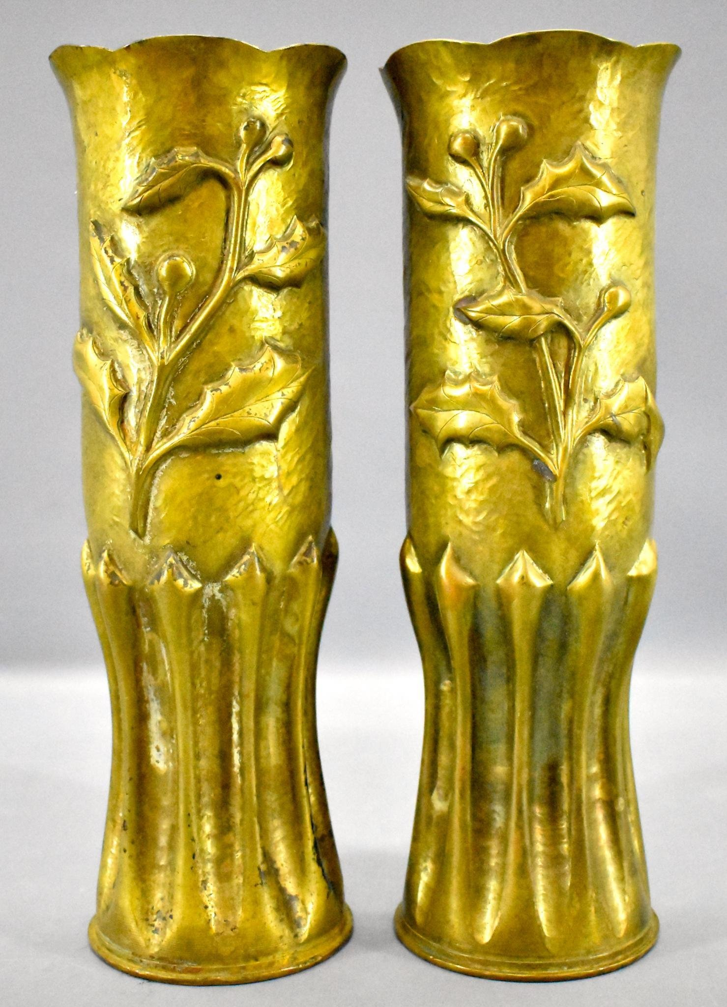 Pair of large WWI WWII trench art 75mm artillery shell