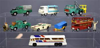 Group of eight vintage Corgi die cast toy trucks and