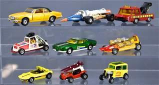 Group of nine vintage Corgi die cast toy cars including