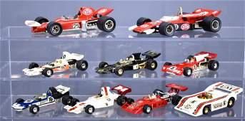 Group of vintage Polistil and Corgi die cast race cars