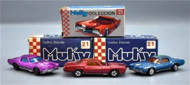 Group of three Muky Hot Wheels Redline era cars in