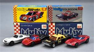 Group of two Muky Hot Wheels Redline era cars in