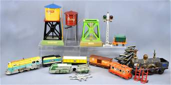 Group of vintage and modern O gauge trains and