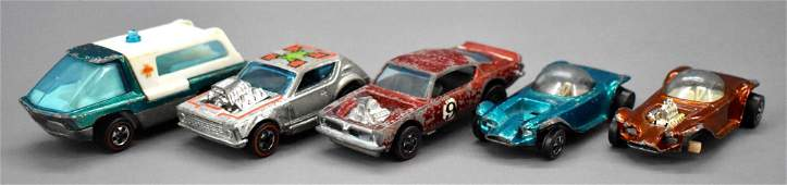 Group of five Redline Hot Wheels for parts or