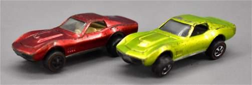 Two Redline Hot Wheels Custom Corvette
