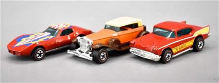 Three Redline Hot Wheels Flying Colors cars