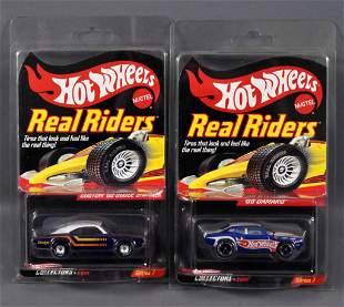 Two Mattel Hot Wheels Real Riders Redline Club cars MOC