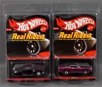 Two Mattel Hot Wheels Real Riders Redline Club cars MOC