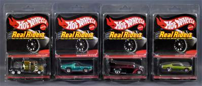 Four Mattel Hot Wheels Real Riders Redline Club cars