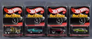 Four Mattel Hot Wheels Real Riders Redline Club cars