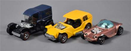 Three Original Redline Hot Wheels die cast cars