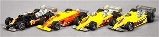 Four Hot Wheels Real Riders Indy race cars