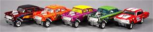 Five loose Hot Wheels Real Riders drag car gassers one