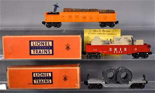 Three Lionel postwar O freight cars with two original