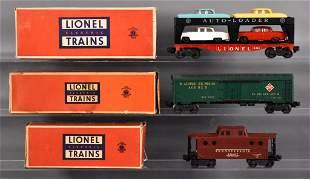 Three Lionel postwar O freight cars in original boxes