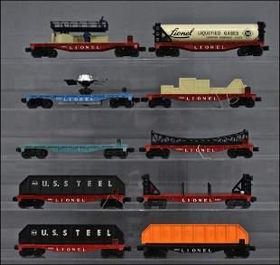 Ten Lionel postwar O gauge flat cars