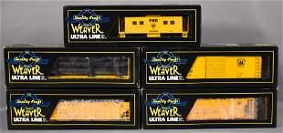 Five Weaver O scale 3-rail freight cars in original