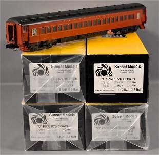 Sunset 3rd rail O scale 3 rail brass Pennsylvania 4-car