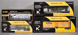 Four K-Line O gauge freight cars in original boxes
