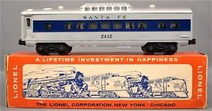 Lionel postwar O 2414 Santa Fe blue stripe Pullman car
