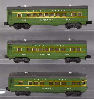 Lionel postwar O 2400 2401 2402 passenger cars