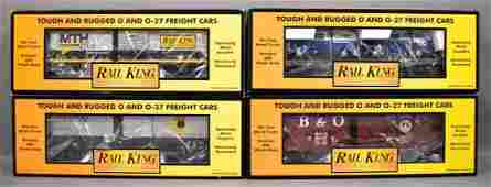 Four MTH Rail King freight cars in original boxes