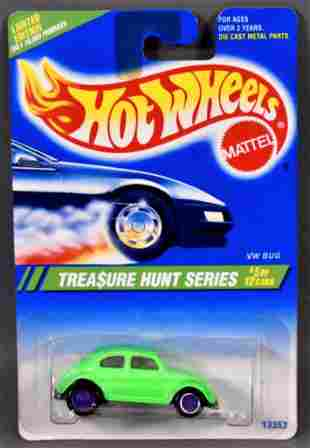 Hot Wheels 1995 Treasure Hunt #5 VW Bug mint on a