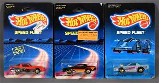 Three Hot Wheels Speed Fleet Camaros on sealed blister